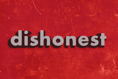 dishonest: dishonest vector word on red concrete wall