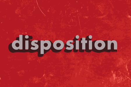 disposition: disposition vector word on red concrete wall