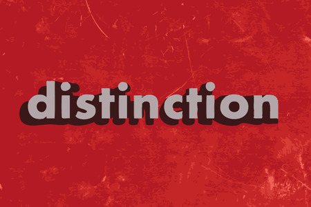 distinction: distinction vector word on red concrete wall