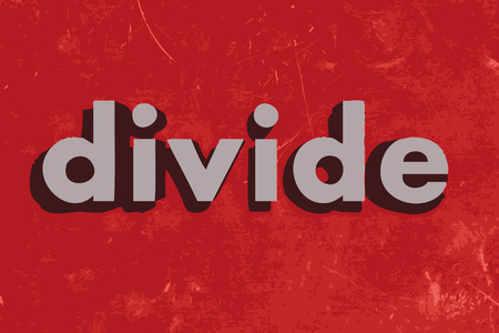 divide: divide vector word on red concrete wall