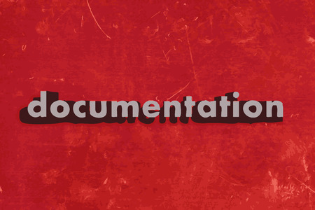documentation: documentation vector word on red concrete wall
