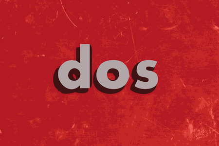 dos: dos vector word on red concrete wall