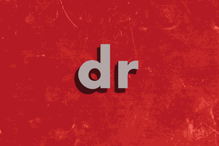 dr: dr vector word on red concrete wall