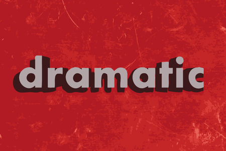 dramatic: dramatic vector word on red concrete wall