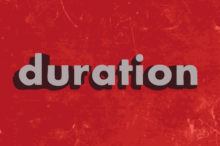 duration: duration vector word on red concrete wall Illustration