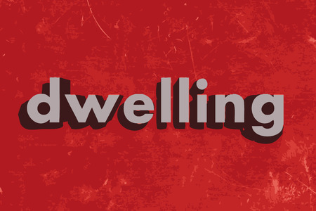 dwelling: dwelling vector word on red concrete wall Illustration