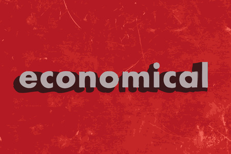 economical: economical vector word on red concrete wall