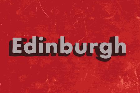 edinburgh: Edinburgh vektor wort auf rotem Betonwand