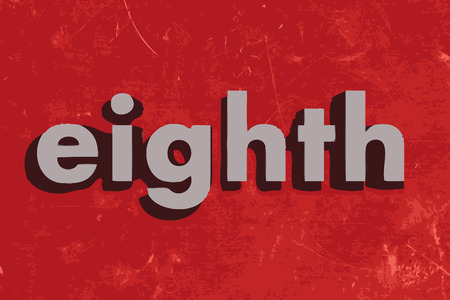 eighth: eighth vector word on red concrete wall Illustration