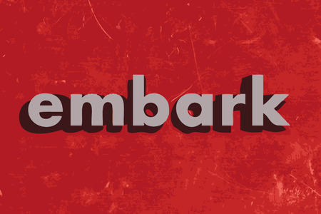 embark: embark vector word on red concrete wall