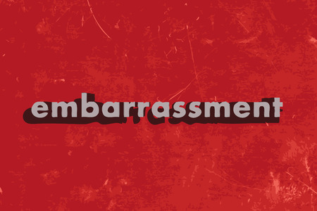 embarrassment: embarrassment vector word on red concrete wall Illustration