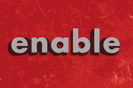enable: enable vector word on red concrete wall