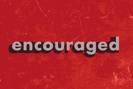 encouraged: encouraged vector word on red concrete wall Illustration