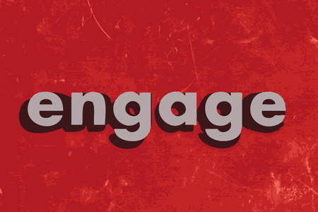 engage vector word on red concrete wall