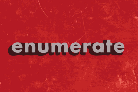enumerate: enumerate vector word on red concrete wall
