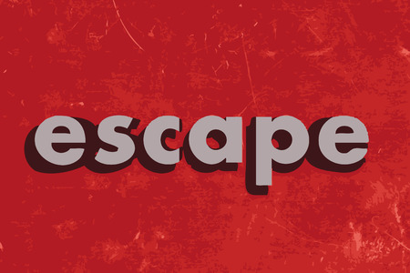 and escape: escape vector word on red concrete wall