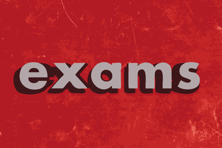 exams: exams vector word on red concrete wall Illustration