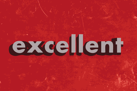 excellent: excellent vector word on red concrete wall Illustration
