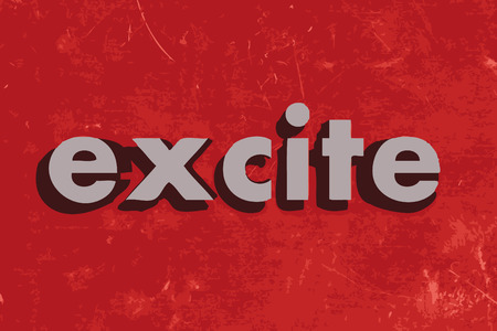 excite: excite vector word on red concrete wall Illustration