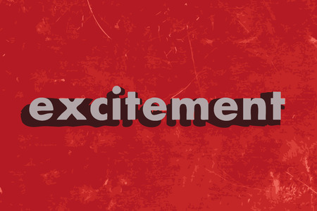 excitement: excitement vector word on red concrete wall