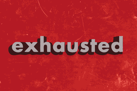 exhausted: exhausted vector word on red concrete wall