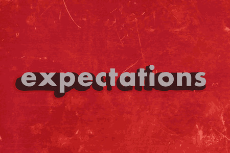 expectations: expectations vector word on red concrete wall