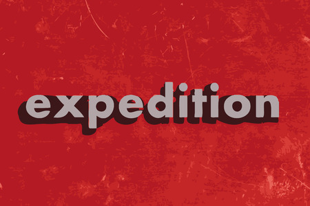 expeditions: expedition vector word on red concrete wall
