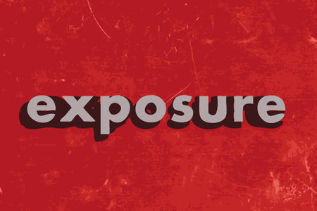 exposure: exposure vector word on red concrete wall Illustration