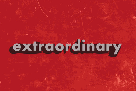 extraordinary: extraordinary vector word on red concrete wall
