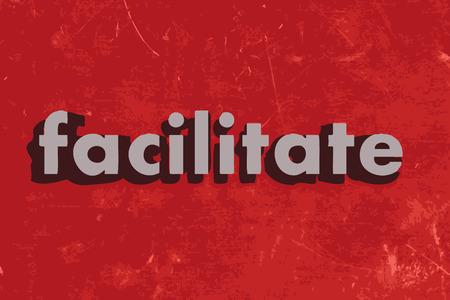 facilitate: facilitate vector word on red concrete wall Illustration
