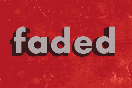 faded: faded vector word on red concrete wall