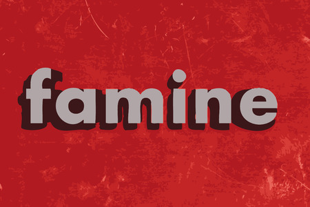famine: famine vector word on red concrete wall