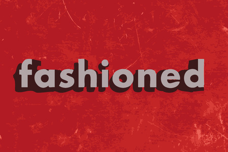 fashioned: fashioned vector word on red concrete wall