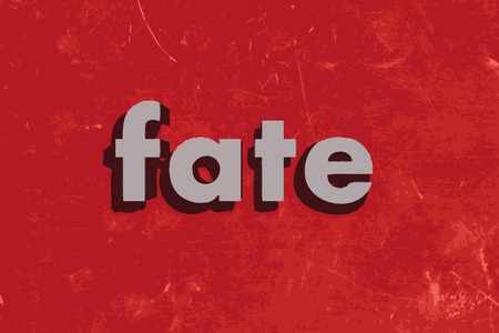 Fate: fate vector word on red concrete wall Illustration