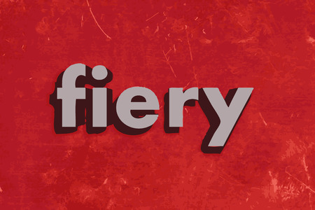 fiery: fiery vector word on red concrete wall Illustration