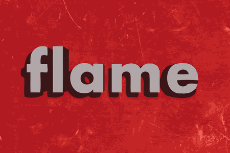 flame letters: flame vector word on red concrete wall