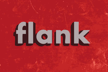 flank: flank vector word on red concrete wall Illustration