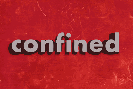 confined: confined vector word on red concrete wall Illustration