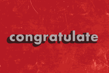 congratulate: congratulate vector word on red concrete wall