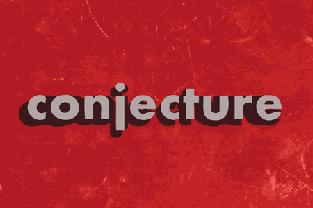 conjecture vector word on red concrete wall