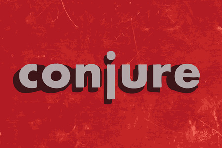 conjure: conjure vector word on red concrete wall