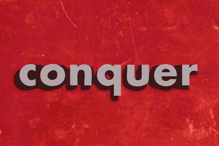 conquer: conquer vector word on red concrete wall