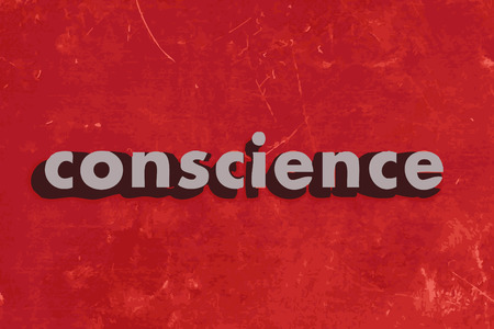 conscience: conscience vector word on red concrete wall