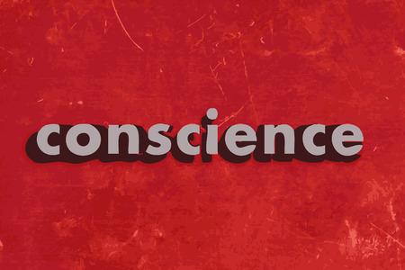 conciencia moral: palabra conciencia del vector en rojo muro de hormig�n Vectores