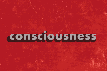 consciousness: consciousness vector word on red concrete wall
