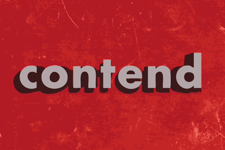 contend: contend vector word on red concrete wall Illustration