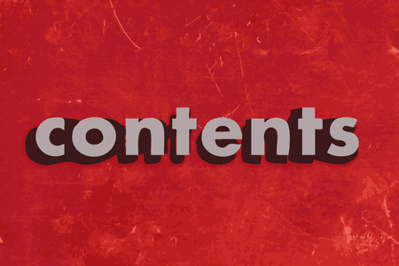 contents: contents vector word on red concrete wall Illustration