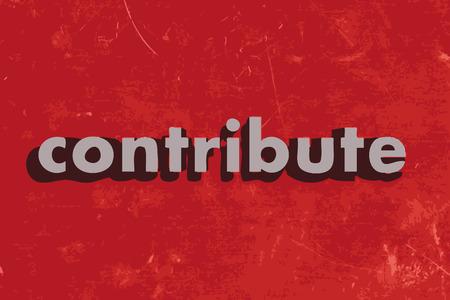contribuire: contribuire parola vettoriale su muro di cemento rosso