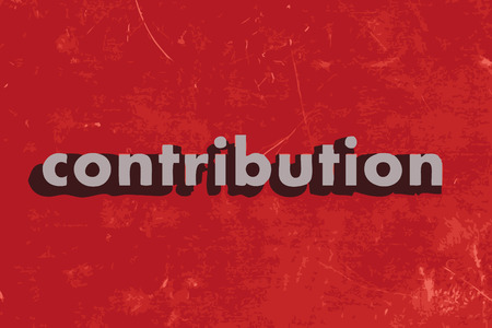 contribution: contribution vector word on red concrete wall Illustration