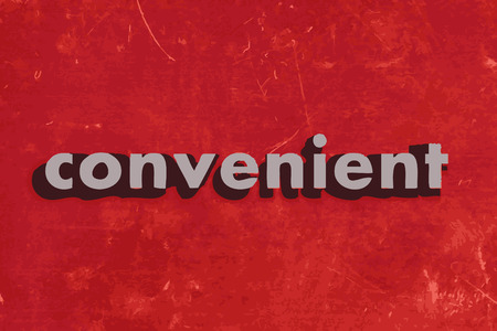 the convenient: convenient vector word on red concrete wall
